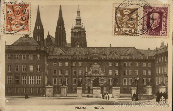 Prague Castle Czechoslovakia Eastern Europe Cancelled on Front (COF)