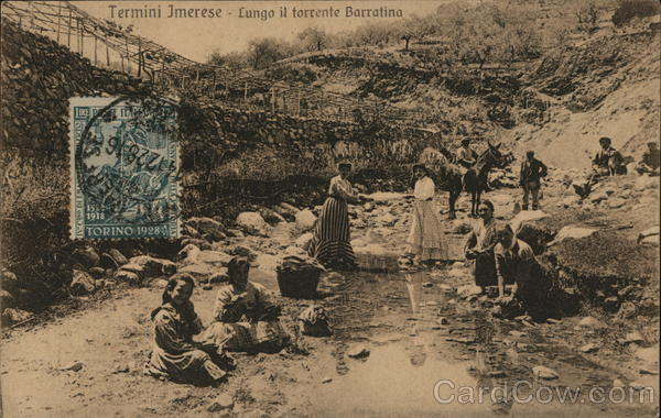 Wash Day Along the Stream Termini Imerese Italy Cancelled on Front (COF)