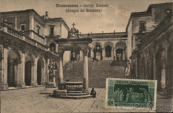 Courtyard, Abbey of Montecassino Italy Cancelled on Front (COF)