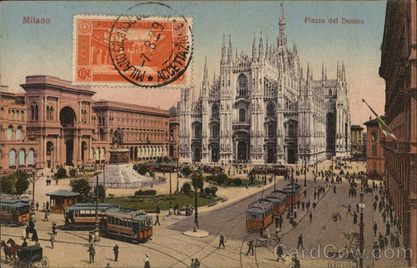 Piazza del Duomo Milan Italy Cancelled on Front (COF)