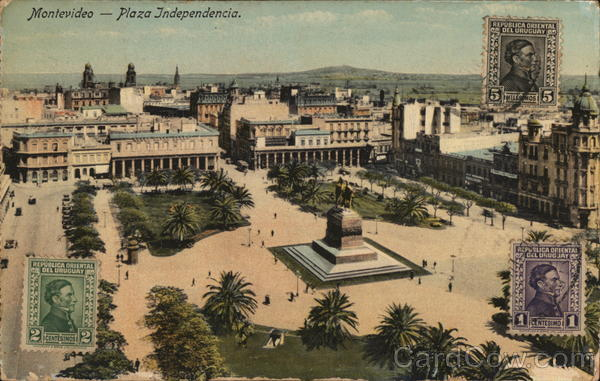 Plaza Independencia Montevideo Uruguay Cancelled on Front (COF)