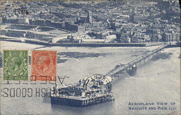Aeroplane View of Margate and Pier Great Britain Kent