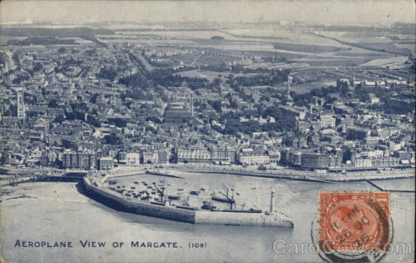 Aeroplane View Margate Great Britain Kent Cancelled on Front (COF)