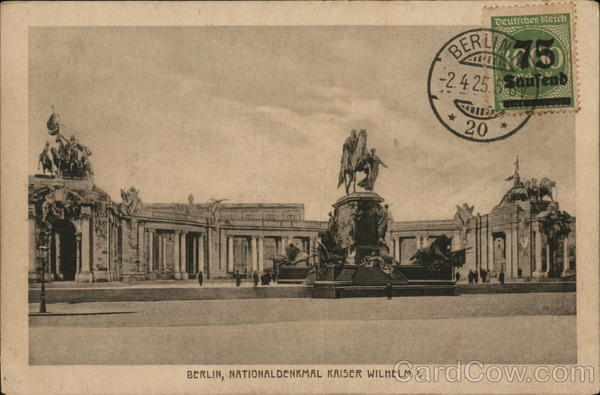 National Kaiser Wilhelm Monument Berlin Germany Cancelled on Front (COF)