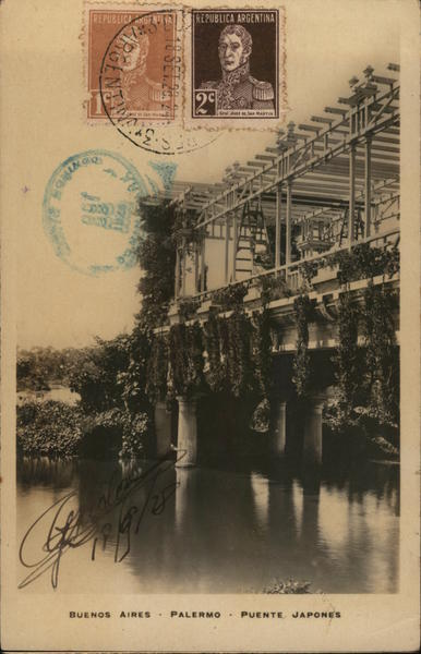 Japanese Bridge, Palermo Buenos Aires Argentina Cancelled on Front (COF)