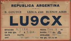 QMF Card for Ham Radio Call Letters LU9CX, Buenos Aires