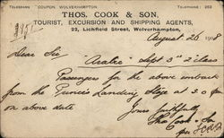 Thos., Cook & Son Shipping Agents, 22 Lichfield Street