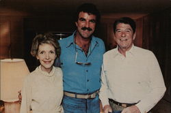 President and Nancy Reagan Visit with TV Star Tom Selleck