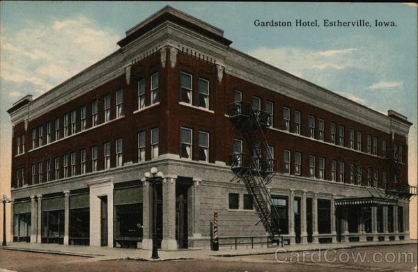 Gardston Hotel Estherville Ia Postcard