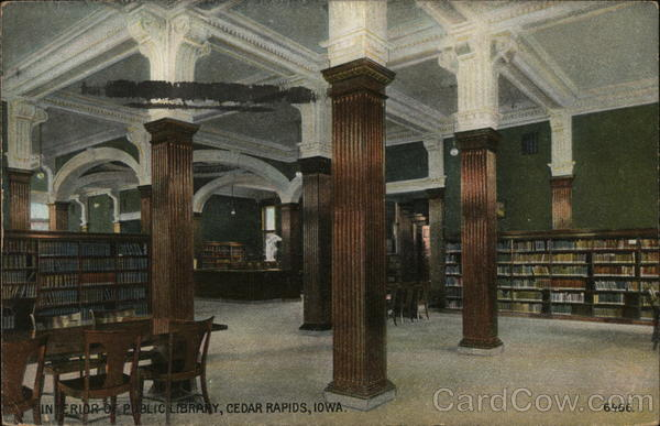 Interior of Public Library Cedar Rapids Iowa
