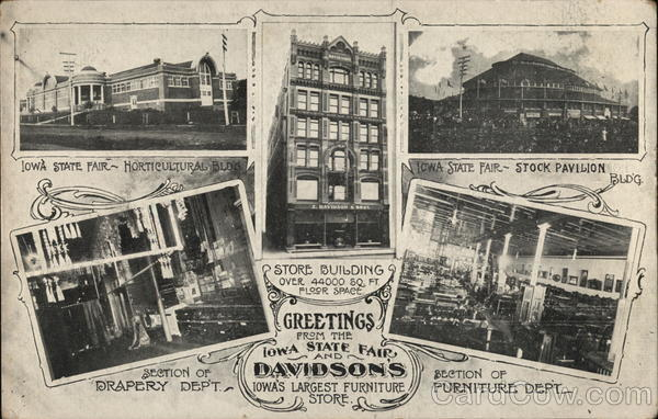 Greetings From Iowa State Fair & Davidson's, Iowa's Largest Furniture Store Des Moines, IA Postcard