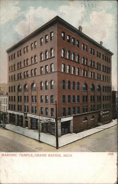 Masonic Temple Grand Rapids Mi Postcard