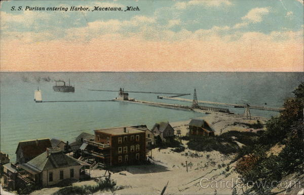 S.S. Puritan Entering Harbor Macatawa Michigan
