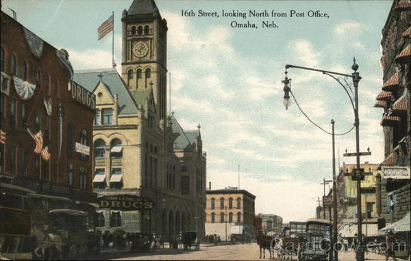 16th Street, looking North from Post Office Omaha Nebraska