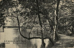 RR Bridge, City Park Postcard