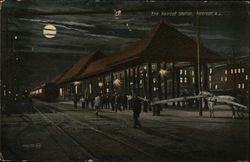 Erie Railroad Station at Night