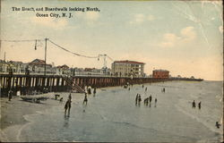 The Beach and Boardwalk looking North Postcard