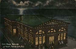 City Music Pavilion at Night Postcard