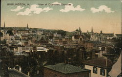 View of Downtown Churches Postcard