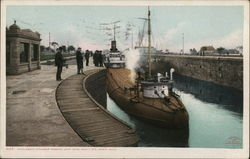 Whaleback Steamer Passing Lock Gate