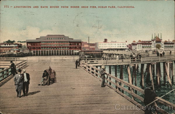 Auditorium and Bath House From Horse Shoe Pier Ocean Park California