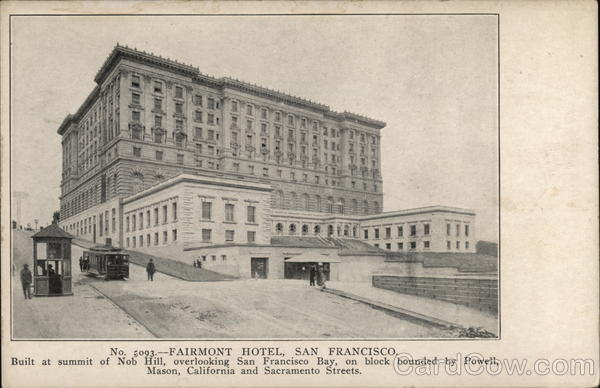 Fairmont hotel nob hill san francisco ca postcard for Nob hill motor inn san francisco ca 94109