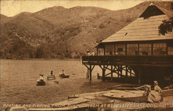 Boating and Fishing from Dining Room at Blue Lakes Lake Co, Cal California