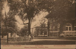 Hepburn Hall, Miami University, Bishop Hall, The Fountain, and Brice Scientific Hall Postcard