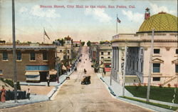 Beacon Steet, City Hall to the Right Postcard