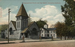 Congregational Church and High School Postcard
