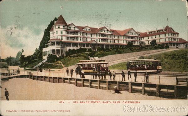 sea beach hotel santa cruz ca postcard. Black Bedroom Furniture Sets. Home Design Ideas