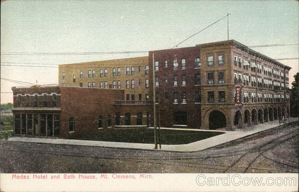 Medea hotel and bath house mount clemens mi postcard for Bath house michigan
