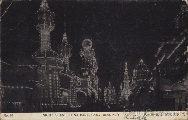 Luna Park, Night Scene Coney Island New York