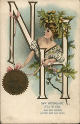New Hampshire State Girl, Seal and Flower (Acorn and Oak Leaf)