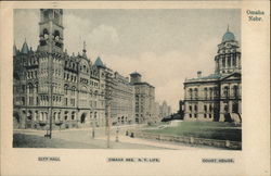NY Life Building, City Hall and Court House Omaha, NE Postcard