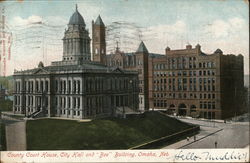 "County Court House, City Hall and ""Bee"" Building Omaha, NE Postcard"