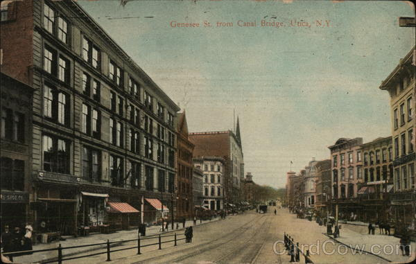 Genesee Street from Canal Bridge Utica New York
