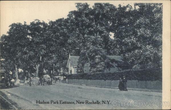hudson park entrance new rochelle ny postcard. Black Bedroom Furniture Sets. Home Design Ideas