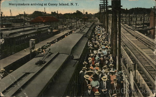 Merrymakers Arriving at Coney Island New York