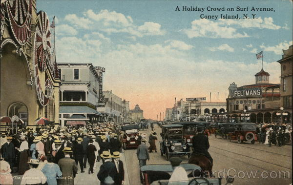 A Holiday Crowd on Surf Avenue Coney Island New York