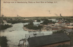 Bird's-Eye View of Manufacturing Plants on Black River at Carthage, N.Y. New York Postcard