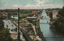 Looking East From NYCRR Bridge Postcard