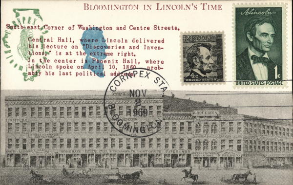 Bloomington In Lincoln's Time Illinois Commemorative Cancels