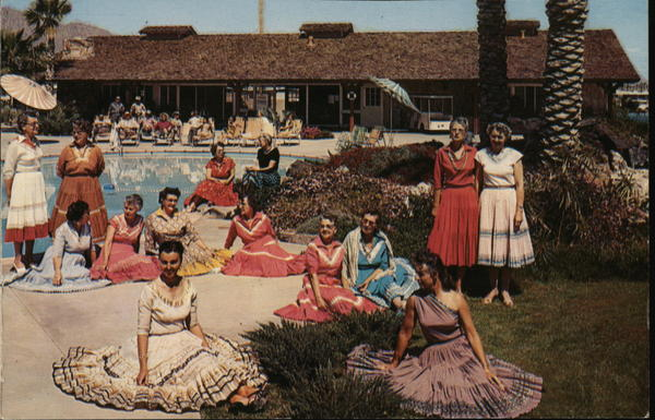 Women in Dresses Poolside Anaheim California Trailers, Campers & RVs