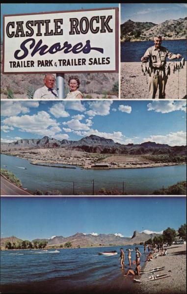 Castle Rock Shores Trailer Park & Sales Parker, AZ Postcard