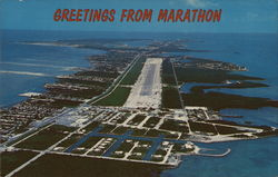 Aerial Vew of Marathon and Airport Postcard