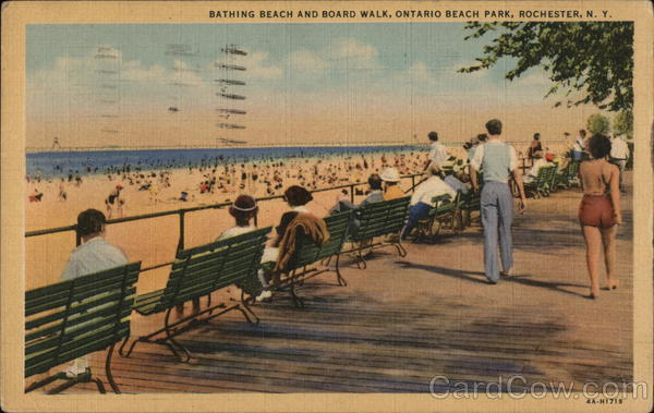 Bathing Beach and Board Walk, Ontario Beach Park Rochester New York
