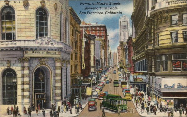 Powell at Market Streets, Showing Turn Table San Francisco California
