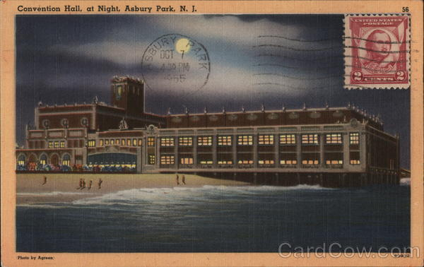 Convention Hall At Night Asbury Park New Jersey Cancelled on Front (COF)