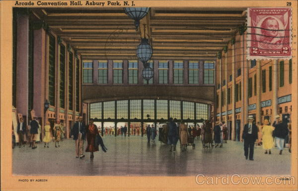 Arcade Convention Hall Asbury Park New Jersey Cancelled on Front (COF)